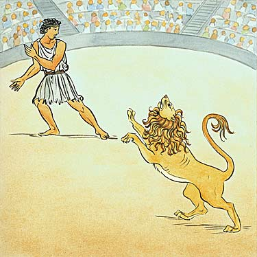 interior illustration: Adroclus is thrown to the lion