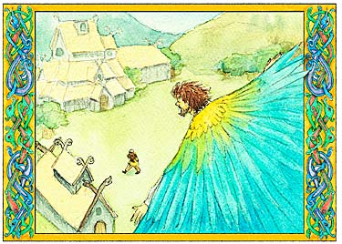 interior illustration: Loki flies back to Asgard