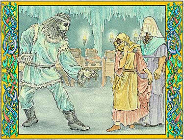 interior illustration: Thrym, the giant king Thor and Loki disguised as Freya and her maid servant